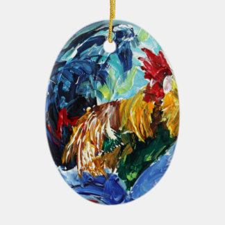 Bright textured design Ken the Rooster Ceramic Oval Decoration