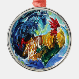Bright textured design Ken the Rooster Silver-Colored Round Decoration