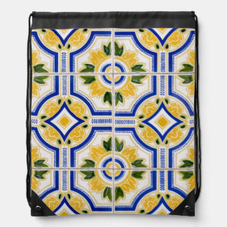 Bright tile pattern, Portugal Drawstring Bag