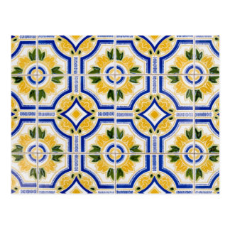 Bright tile pattern, Portugal Postcard