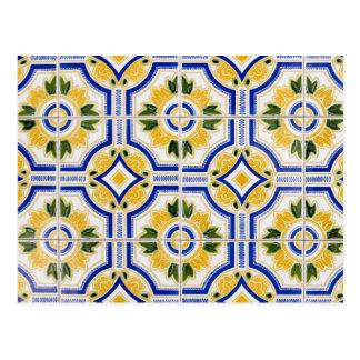 Bright tile pattern, Portugal Postcard