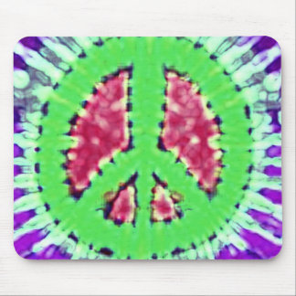 Bright Trippy Hippie Tie Dye Peace Sign Mouse Mat