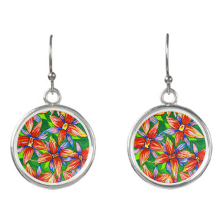 Bright Tropical Flower Watercolour Earrings