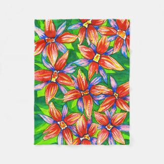 Bright Tropical Flower Watercolour Fleece Blanket