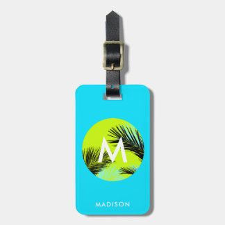 Bright Tropical Palm Trees Monogram Custom Luggage Luggage Tag