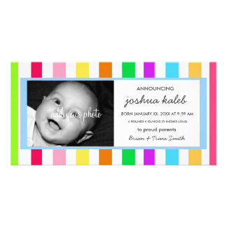 Bright Tropical Stripes Birth Announcement Picture Card