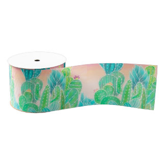 Bright tropical watercolor summer cactus pattern grosgrain ribbon