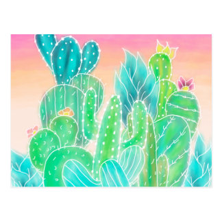 Bright tropical watercolor summer cactus pattern postcard