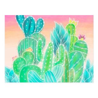 Bright tropical watercolor summer cactus pattern postcard