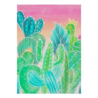 Bright tropical watercolor summer cactus pattern poster