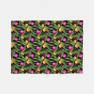 Bright tulips on a dark background fleece blanket