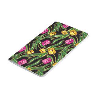Bright tulips on a dark background journal