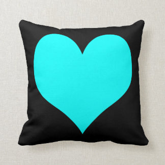 Bright Turquoise and Black Hearts Throw Pillow