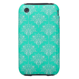 Bright Turquoise and White Damask iPhone 3 Tough Cover