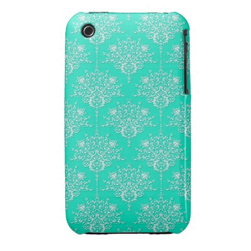 Bright Turquoise and White Damask iPhone 3 Case-Mate Case