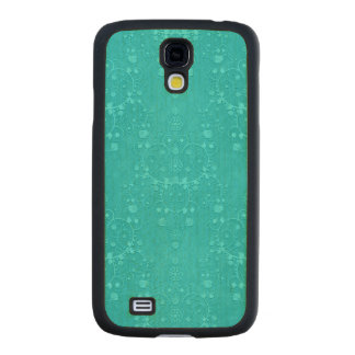Bright Turquoise Aqua Teal Fancy Damask Pattern Carved® Maple Galaxy S4 Slim Case