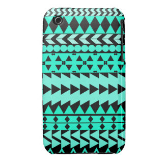 Bright Turquoise Aztec Black iPhone 3 Covers