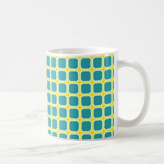 Bright Turquoise Lemon and White Tiles Basic White Mug