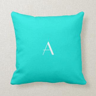Bright Turquoise Pillow w White Monogram