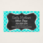 Bright Turquoise Quatrefoil; Chalkboard look Business Card