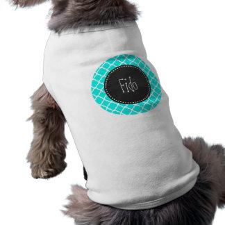 Bright Turquoise Quatrefoil; Chalkboard look Doggie Shirt
