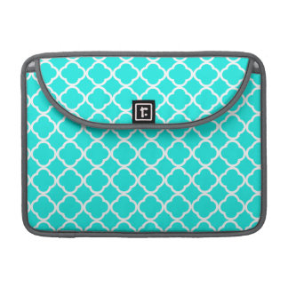 Bright Turquoise Quatrefoil Sleeves For MacBook Pro