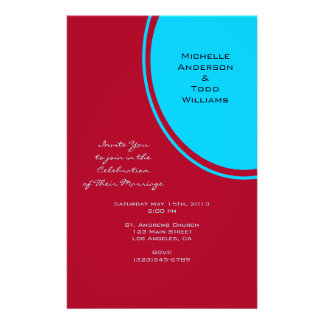 Bright Turquoise Red Modern Wedding Custom Flyer