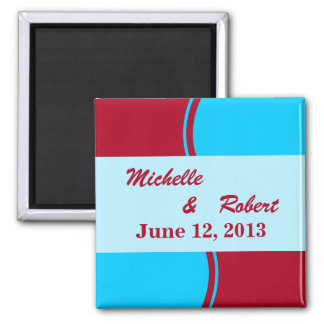 Bright Turquoise Red Modern Wedding Square Magnet