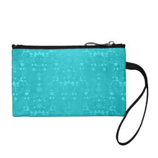 Bright Turquoise Teal Aqua Damask Pattern Coin Purse