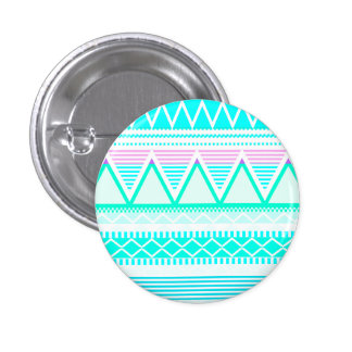Bright Turquoise Tribal Pinback Buttons