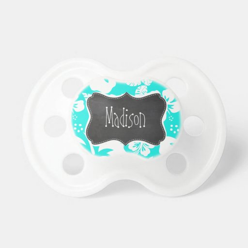 Bright Turquoise Tropical Hibiscus; Chalkboard Baby Pacifiers
