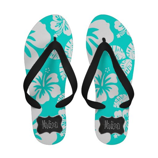 Bright Turquoise Tropical Hibiscus; Chalkboard Sandals