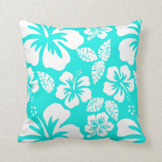 Bright Turquoise Tropical Hibiscus Cushion