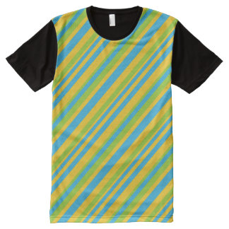 Bright Turquoise Yellow Green Diagonal Stripes All-Over Print T-Shirt