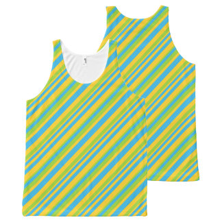 Bright Turquoise Yellow Green Diagonal Stripes All-Over Print Tank Top