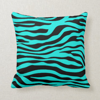 Bright Turquoise Zebra Stripes Animal Print Cushion