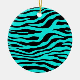 Bright Turquoise Zebra Stripes Animal Print Round Ceramic Decoration