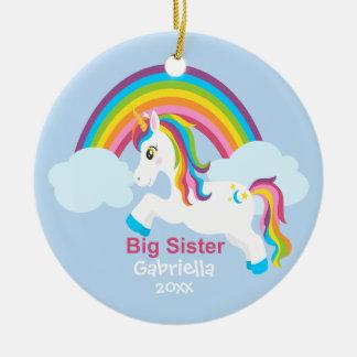 Bright Unicorn Rainbow Big Sister Ornament