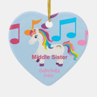 Bright Unicorn Rainbow Music Notes Sister Ornament