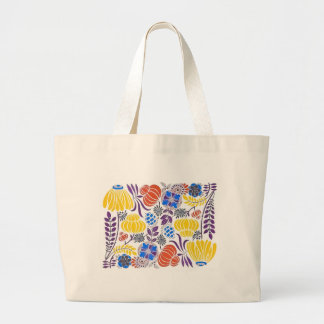 Bright Vintage Flower Pattern Jumbo Tote Bag