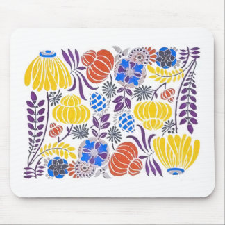 Bright Vintage Flower Pattern Mouse Pad