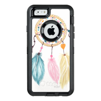 Bright watercolor boho dreamcatcher feathers OtterBox defender iPhone case