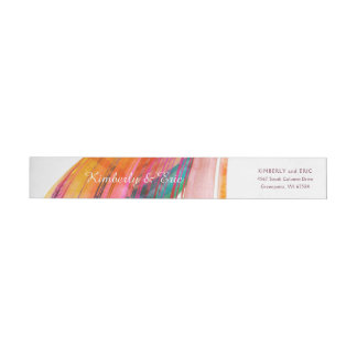 Bright Watercolor Brush Wedding Wrap-Around Label