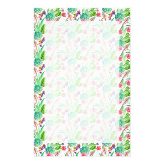 Bright Watercolor Cactus & Succulent Pattern Stationery