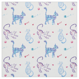 Bright watercolor cat graphic pattern design fabric