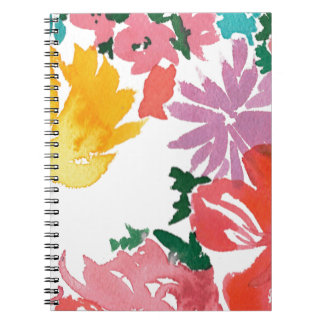 Bright Watercolor Floral Customisable Notebook