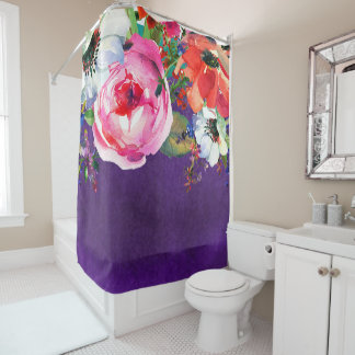 Bright Watercolor Floral Purple Trendy Chic Bold Shower Curtain