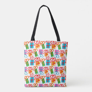 Bright watercolor gift boxes, birthday bows tote bag
