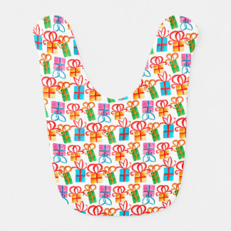 Bright watercolor gift boxes, birthday or xmas bib
