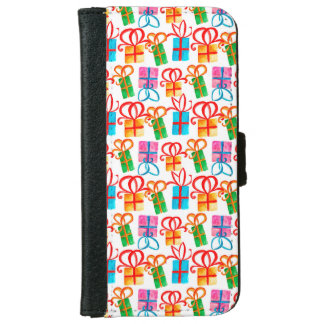 Bright watercolor gift boxes, birthday or xmas iPhone 6 wallet case